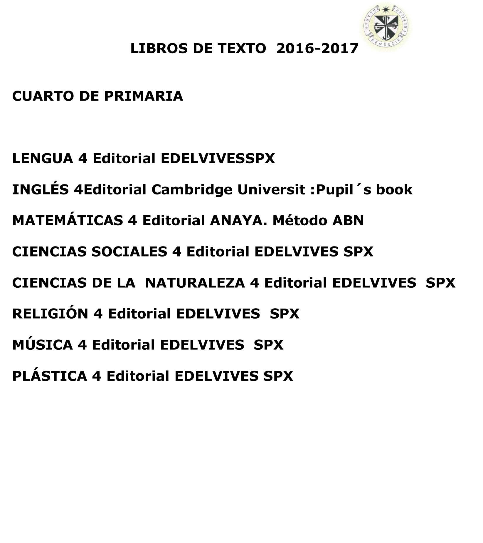 Colegio Santo Domingo Granada | LIBROS PARA EL CURSO ESCOLAR 16/17