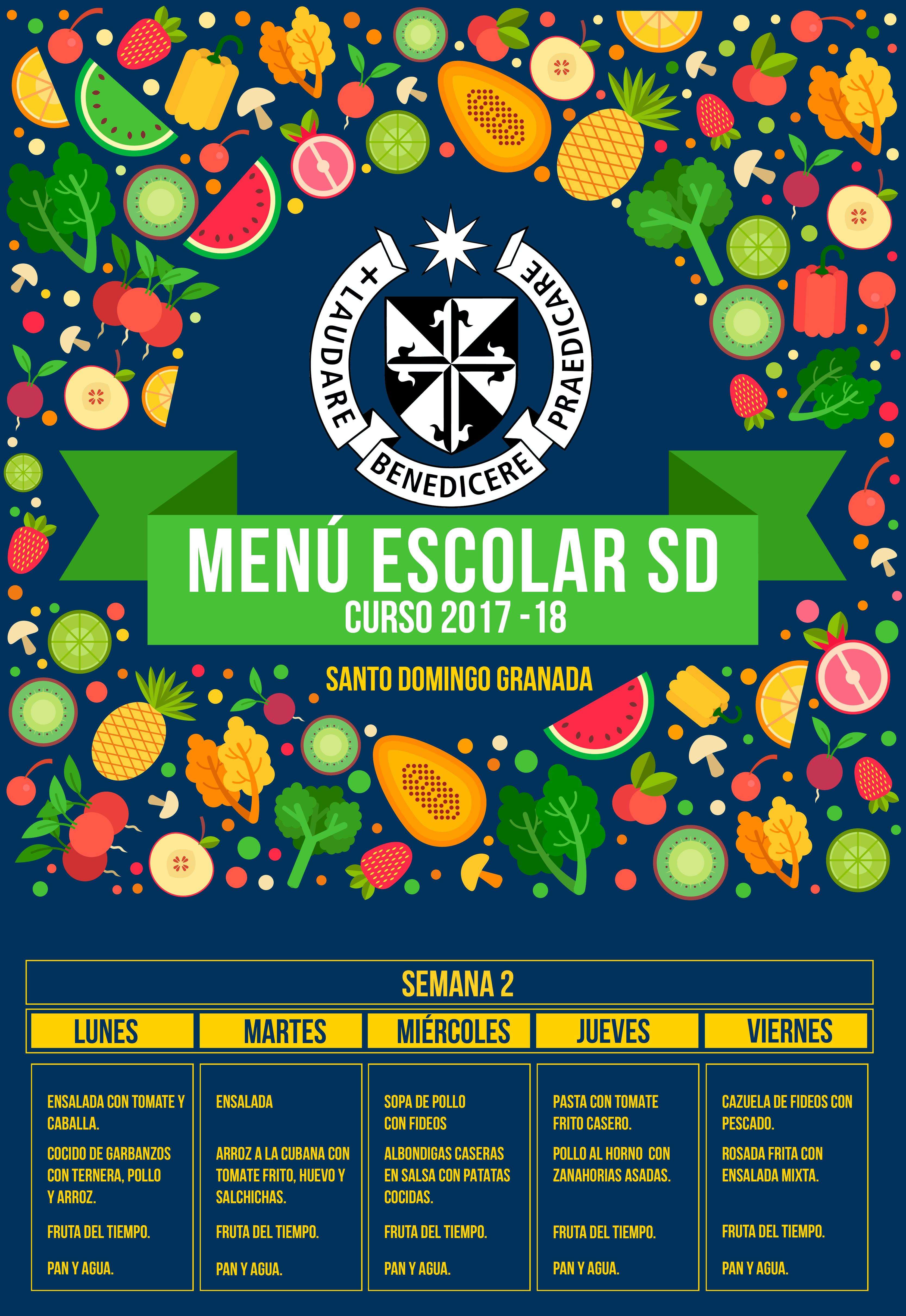 Colegio Santo Domingo Granada | Menú semana del 14 al 18 de mayo – s2