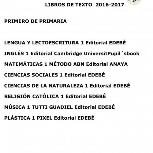 LIBROS PARA EL CURSO ESCOLAR 16/17
